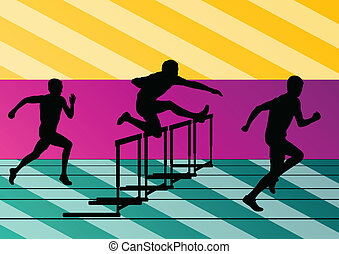 Active men sport athletics hurdles barrier running silhouettes illustration collection background vector