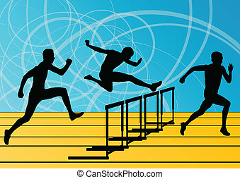 Active men sport athletics hurdles barrier running...
