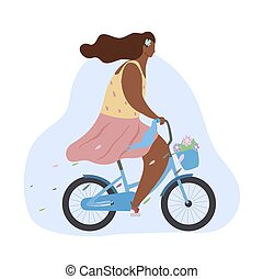 Active modern romantic african girl on a pink bike with flowers in basket. Modern flat illustration side view. Summer sports lifestyle.