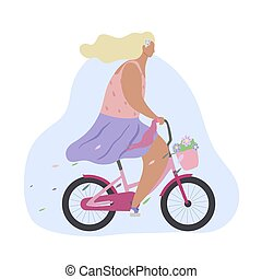 Active modern romantic girl on a pink bike with flowers in basket. Modern flat illustration side view. Summer sports lifestyle.