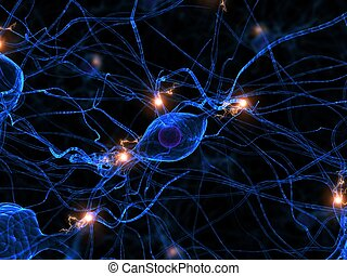 3d rendered illustration of an active neuron cell