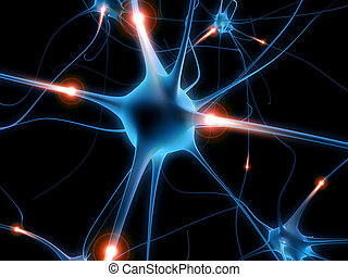 3d rendered illustration of an active human nerve cell