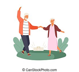 Active old couple dancing at park vector flat illustration. Happy elderly man and woman holding hands demonstrate dance movement isolated on white. Grandmother and grandfather at outdoor disco