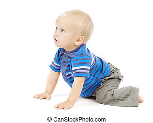 active one year baby crawling over white background