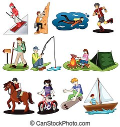 Active people doing outdoor activities