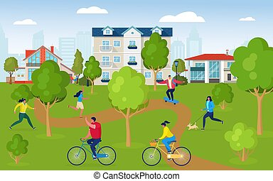 Active people doing sport outside, vector illustration. Healthy lifestyle, people in city park near houses. Happy people running