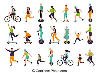 Active people. Healthy lifestyle, outdoor activities, running and jogging. Bike riding, skateboarding, rollerblading vector illustration set