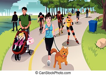 Active people in a park - A vector illustration of people in...