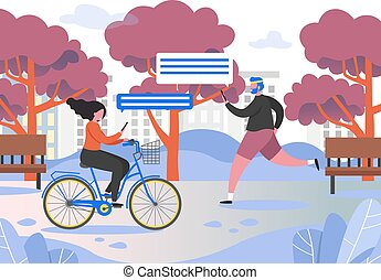 Active people in city park vector flat illustration