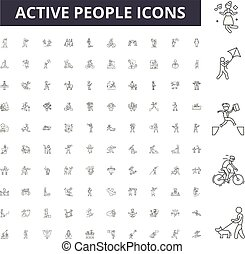 Active people line icons, signs, vector set, outline illustration concept
