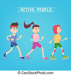 Active People. Man and Woman Runners. Girl on Roller Skates. Vector illustration