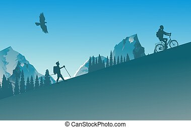 Active people tourist and cyclist bicycle rider silhouettes in wild mountain nature landscape background illustration vector