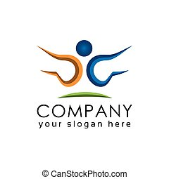 Active Person logo vector, Colorful people