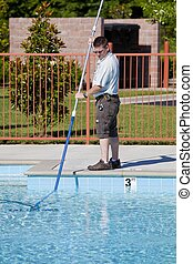 Active Pool Service Technician - Service man checking...
