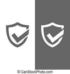 Active protection shield icon on black and white background
