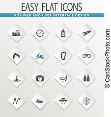 Active recreation icons set