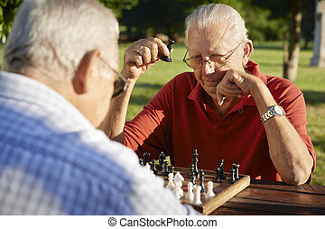 Active retired people, two senior men playing chess at park...