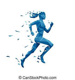 Active running woman vector illustration. Energy jogging...