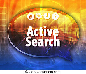 Active search Business term speech bubble illustration