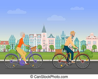 Active senior character, age travelers. Old age retired tourists couple. Elderly people riding on a bicycle near old city park. Cartoon vector illustration