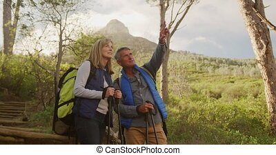 Active senior couple hiking in forest - Front view of a ...
