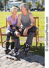 Active senior couple ready
