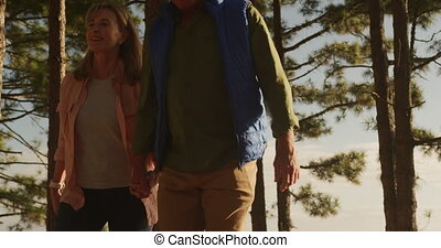 Active senior couple walking in forest