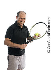 active senior man playing tennis with beer belly