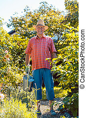Active senior man watering plants in the garden in a tranquil day