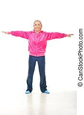 Active senior woman doing sport