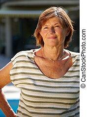Active senior woman smiling