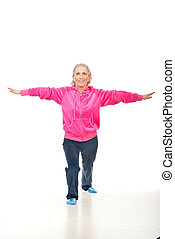 Active senior woman training