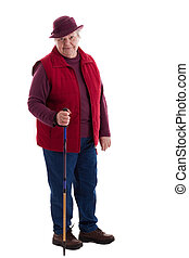 Active Senior Woman with walking stick 2