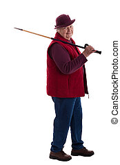 Active Senior Woman with walking stick 3