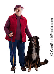 Active Senior Woman with walking stick and dog 2 - A lusty...