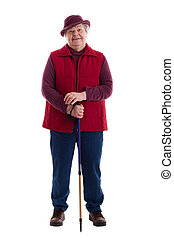 Active Senior Woman with walking stick