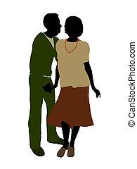 Active Seniors Couple Illustration Silhouette - Active...