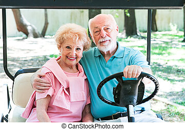 Active Seniors in Golf Cart