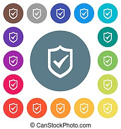 Active shield flat white icons on round color backgrounds. 17 background color variations are included.