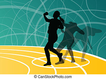 Active shot putter woman sport athletics ball throwing silhouettes abstract illustration background vector