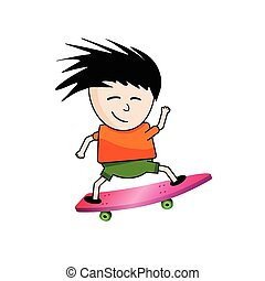Active skater boy on a pink board