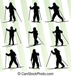 Active skiing silhouette set vector