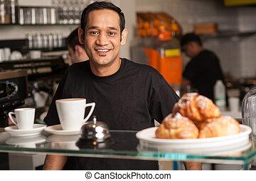 Active staff in restaurant kitchen