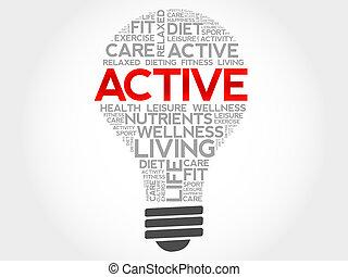 ACTIVE bulb word cloud, health concept