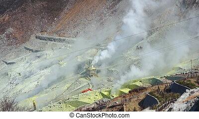 Active sulfur vents of Owakudani, Japan. Owakudani valley is...