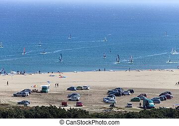 active sunny beach, wind and kite surf