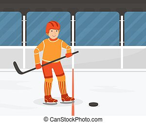Active Teenage Boy Playing Hockey, Guy Doing Physical Activity and Sports Vector Illustration