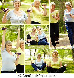 Active training - Collage of elderly women doing exercises...