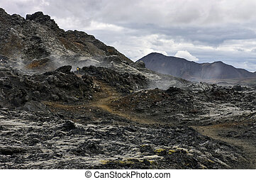 Active Volcanic Fissure - An active volcanic fissure in the ...