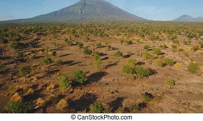 Active volcano Gunung Agung in Bali, Indonesia. - Aerial...